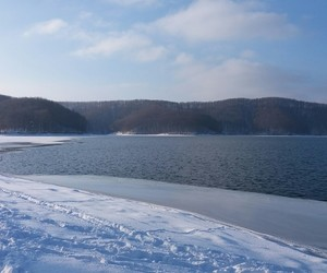 lake, landscape, and winter image