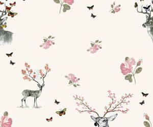 deer, wallpaper, and flowers image
