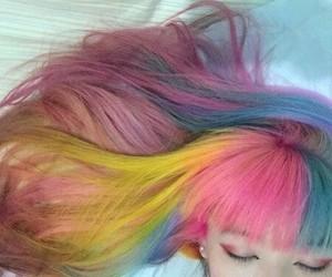 hair, rainbow hair, and colorful image