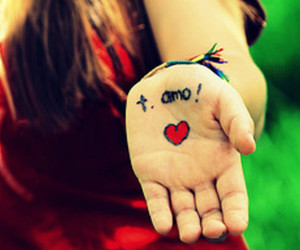 love, heart, and hand image
