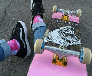 pink, skate, and skateboard image