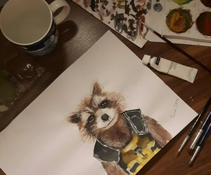 Marvel, painting, and rocket image