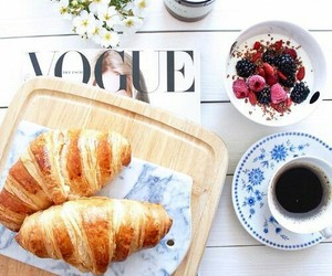 breakfast, vogue, and coffee image