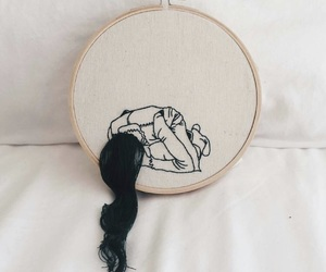 embroidery, girl, and hair image