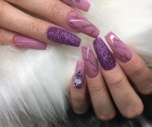 nails, glitter, and purple image