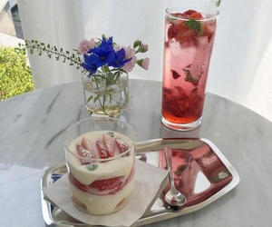 food, flowers, and strawberry image