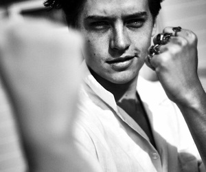cole sprouse, riverdale, and black and white image