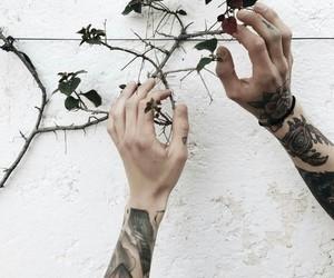 goth, tattoo, and dark flowers image