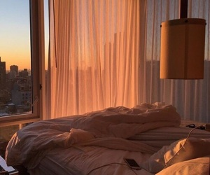 sunset, bed, and bedroom image