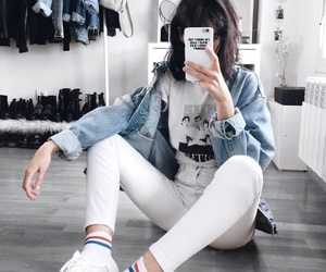 denim jacket, pale, and sky blue image