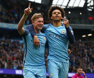 sane, manchester city, and kevin de bruyne image