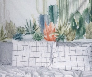 bed, bedroom, and cacti image