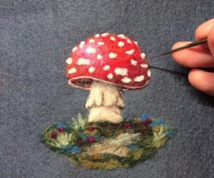 amanita muscaria, art, and fiber art image