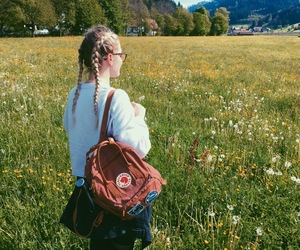 aesthetic, fjallraven kanken, and flowers image