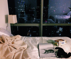 city, night, and bed image