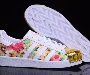 adidas, white, and floral image