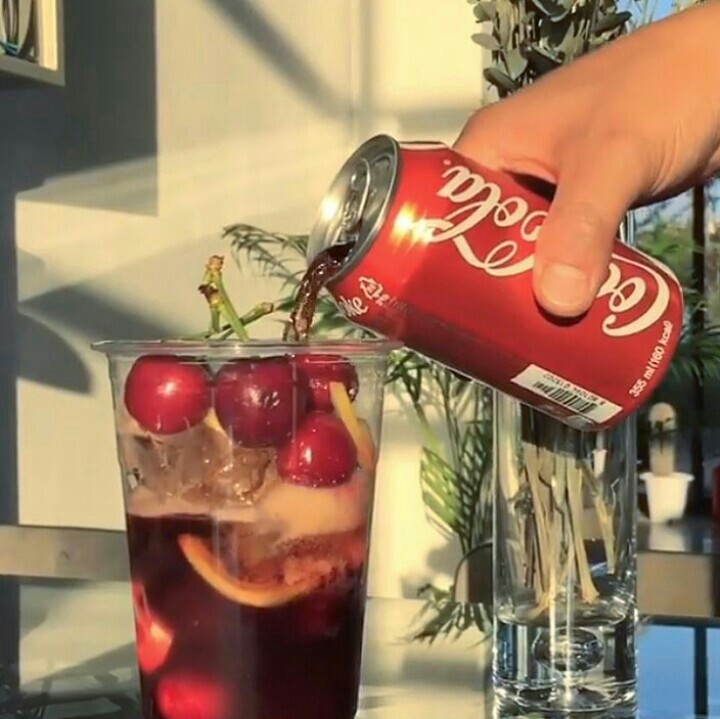 cherry, coca cola, and red image