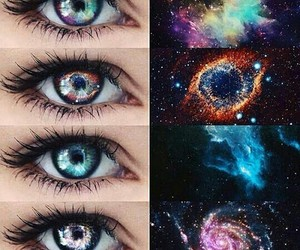 eyes, galaxy, and colors image