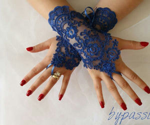 etsy, royal blue, and bridal gloves image