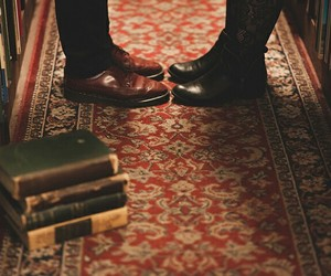 book, library, and shoes image