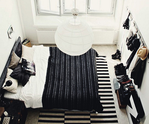 bedroom, white, and black image