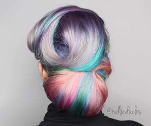beauty, bun, and colorful image
