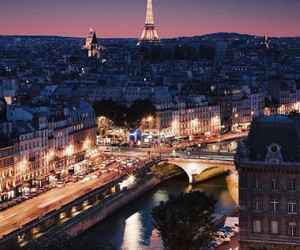 eiffel tower, travel, and lights image