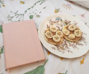 breakfast, pink, and banana image