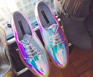 fashion, shoes, and holographic image