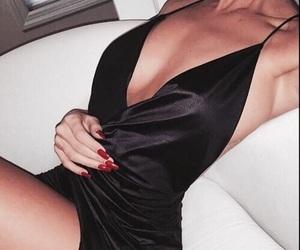 black, dress, and satin image