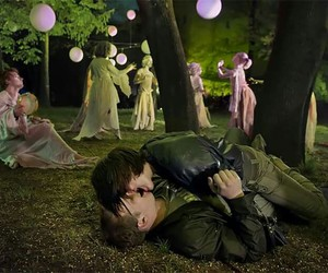 balloons, lovers, and trees image