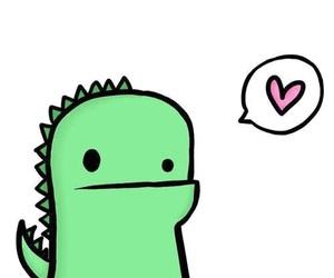 love, cute, and dinosaur image