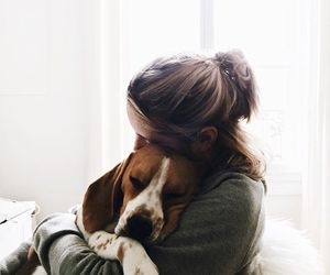 dog, hug, and puppy image