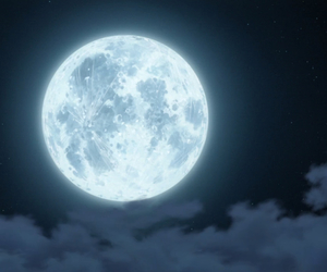 anime, moon, and background image