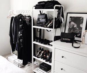 bedroom, black, and closet image