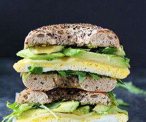 avocado, bagel, and egg image
