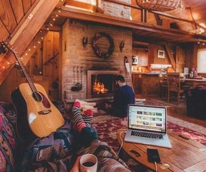 cozy, winter, and cabin image