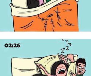 funny, couple, and sleep image