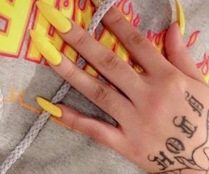 long, tattoo art, and yellow image