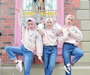 best friends, hijab, and jeans image
