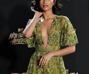 zendaya, dress, and green image