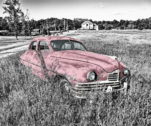 pink, vintage, and car image