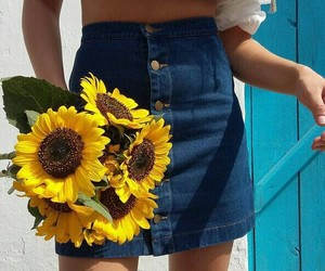 flowers, sunflower, and skirt image