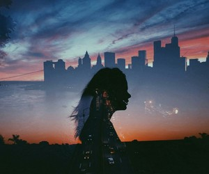 city, girl, and peace image