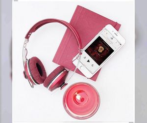 pink and audiobooks image