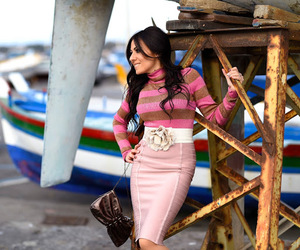 longuette, maglia a righe, and outfit rosa image