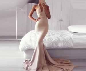 mermaid, open back, and prom dress image