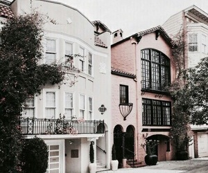 house, architecture, and pink image
