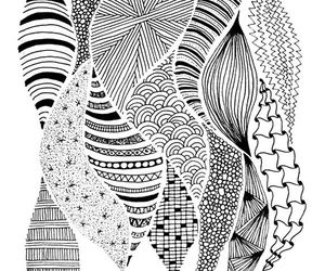 black and white, doodles, and ink drawing image