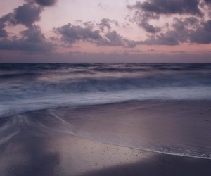sea, purple, and sunset image
